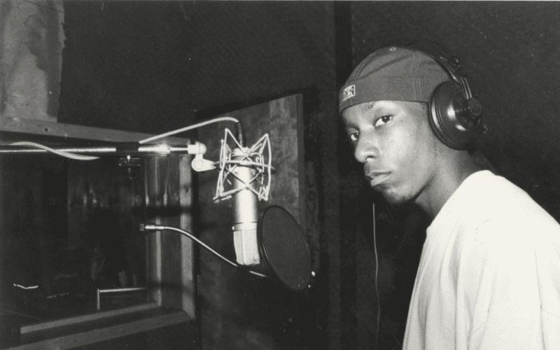 big l in the studio