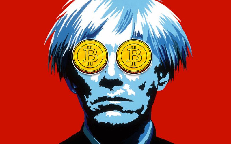 andy warhol with bitcoin eyes nft non-fungible token