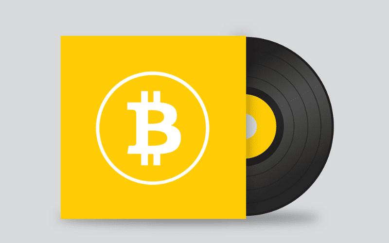 vinyl with bitcoin symbol nft