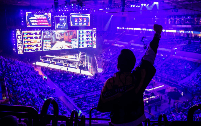 celebrating at esports event with crowd