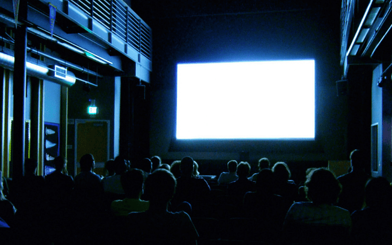 cinema with big screen and audience