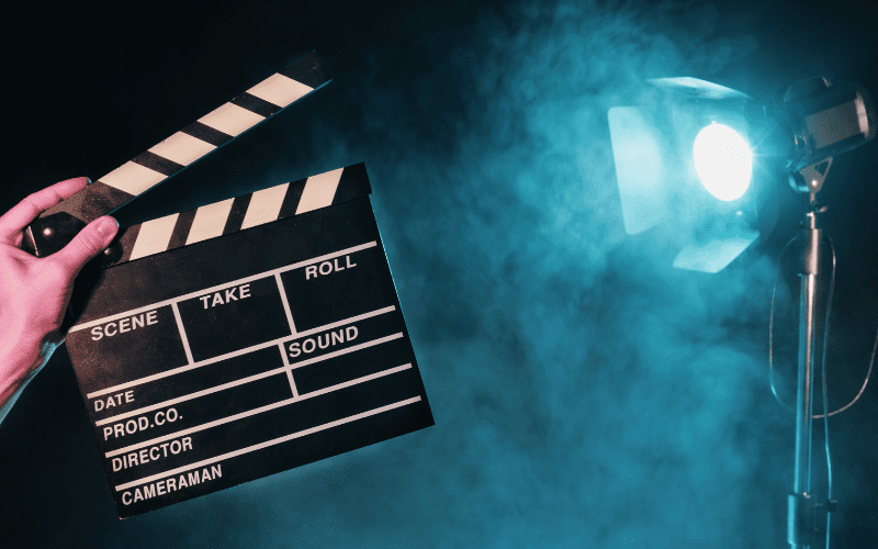 Clapperboard indicating the shooting of an opening scene