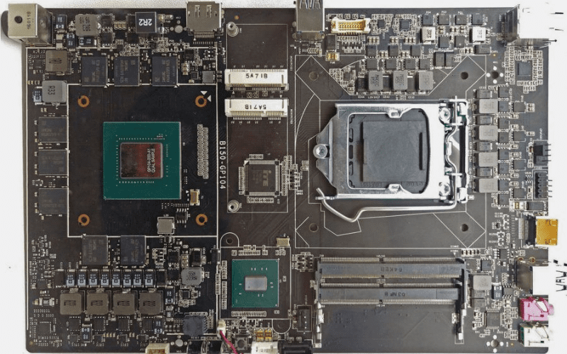 A motherboard with an integrated graphics card
