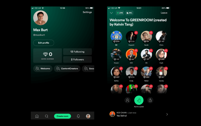 Spotify Greenroom profile and Gems