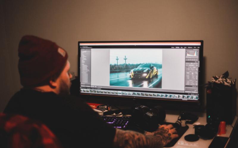 film producer editing a movie trailer