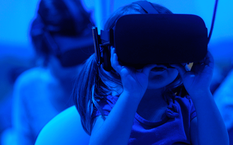 girl with vr head set