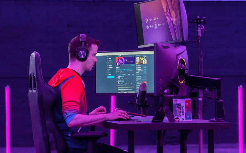 gaming set up with gamer