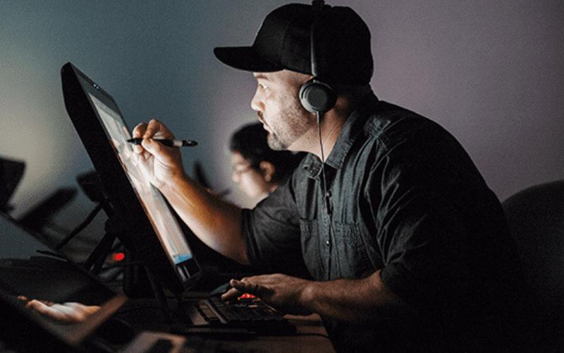 creative artist working on computer