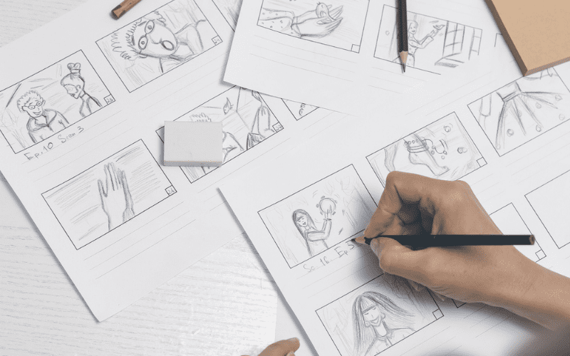 The illustration of a storyboard