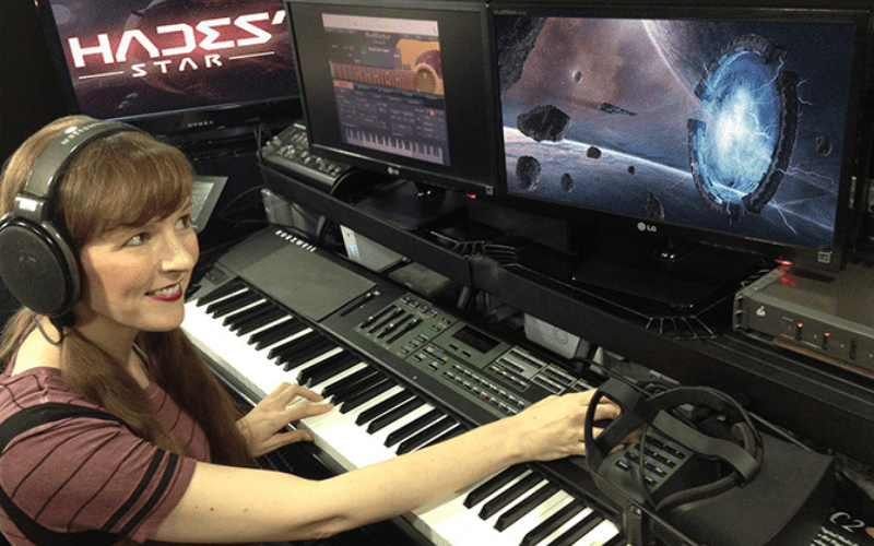 video game composer in the studio