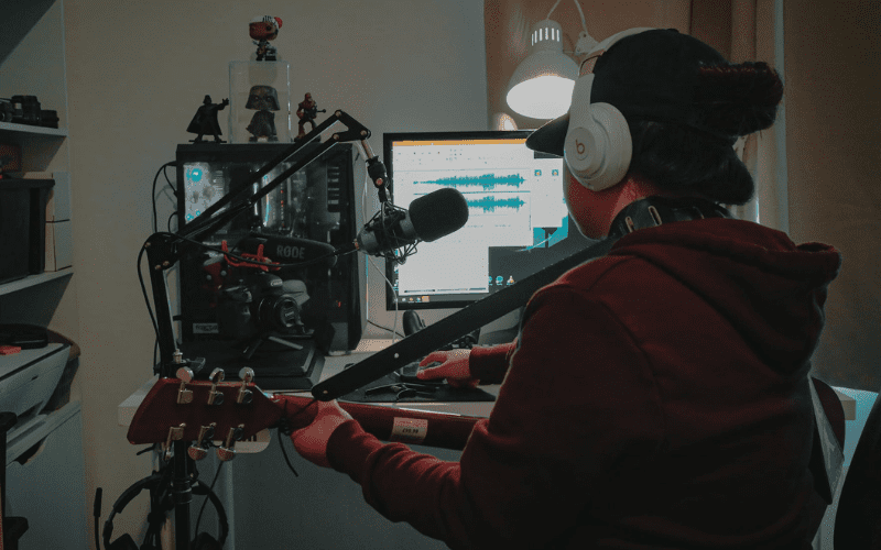 producer composing a video game soundtrack