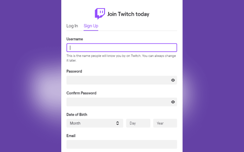 twitch sign up page