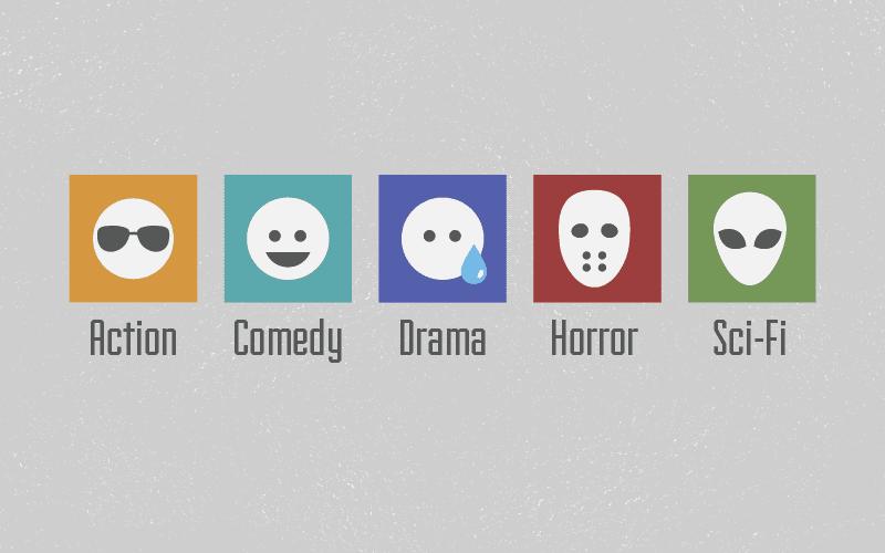 main movie genres minimalistic