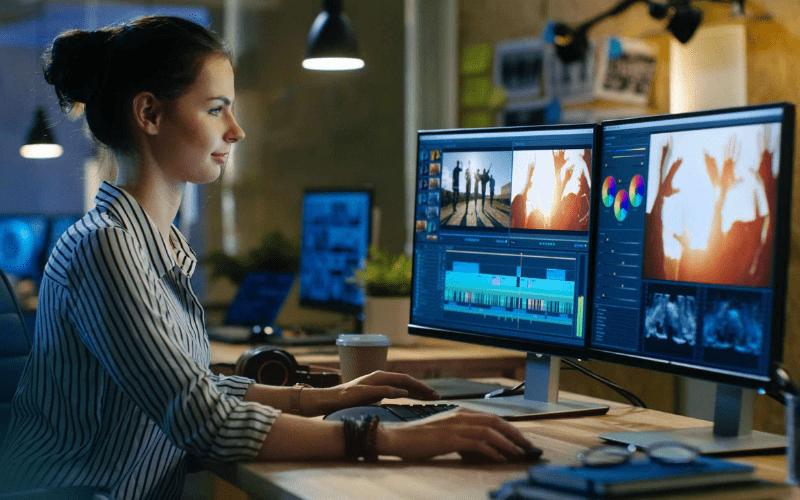 film producer editing movie trailer