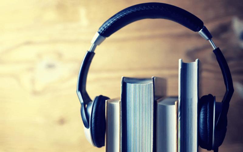 music headphones on books