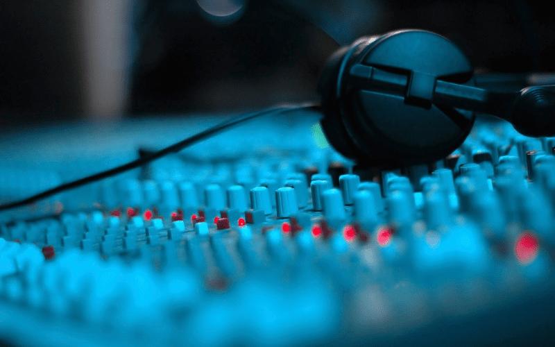 studio desk with headphones