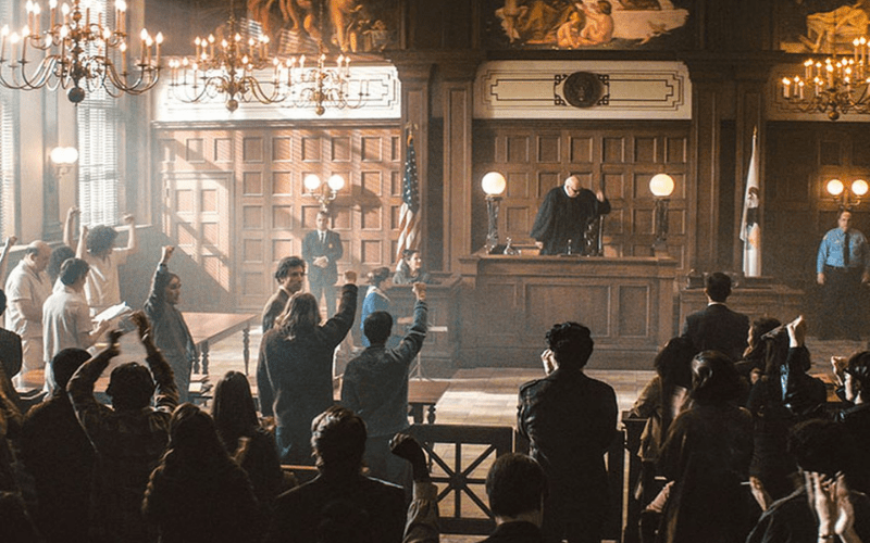 the trial of the chicago 7 courtroom