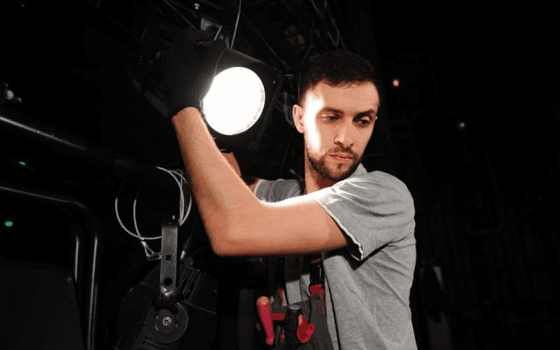 key grip on set with lighting