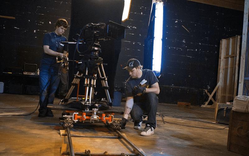 key grip on set with DOP