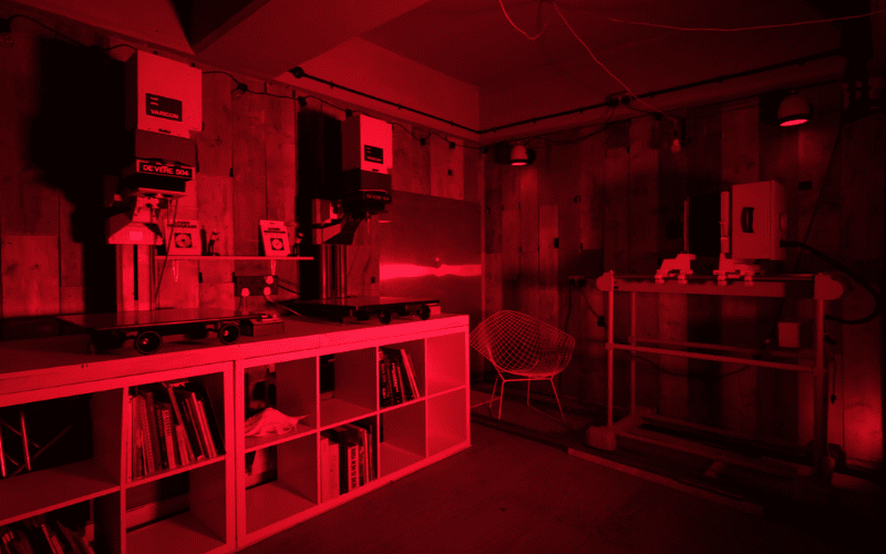 A darkroom for developing and manipulating film photography