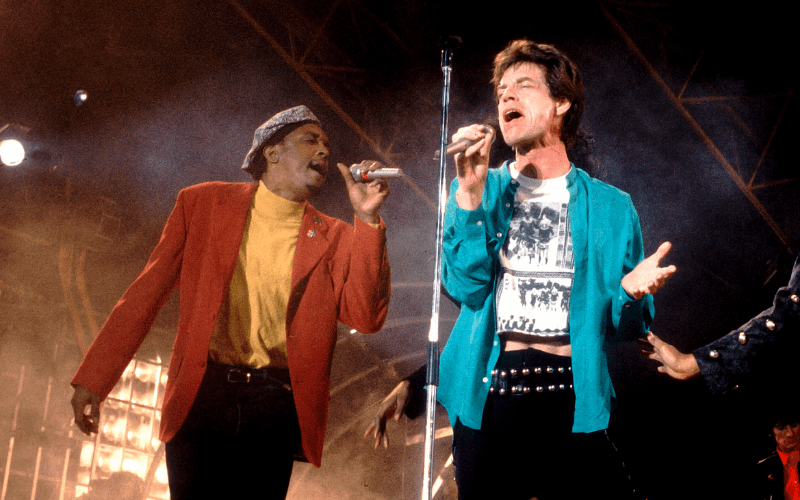 Bernard Fowler, background singer for the Rolling Stones, is on the left