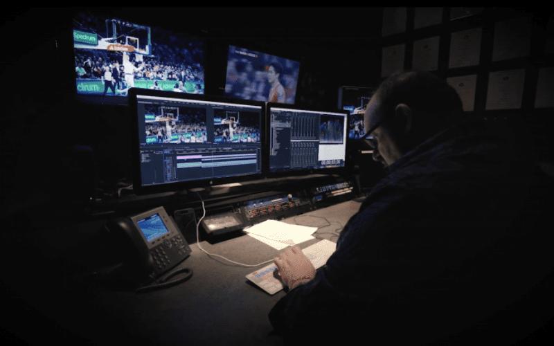 video editor in studio