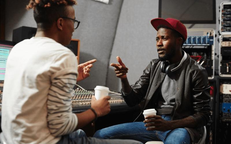 musicians in the studio