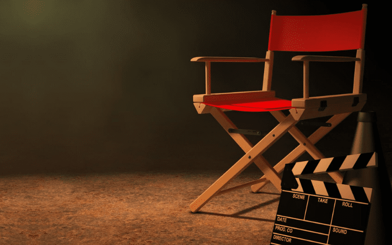 director chair and clapperboard