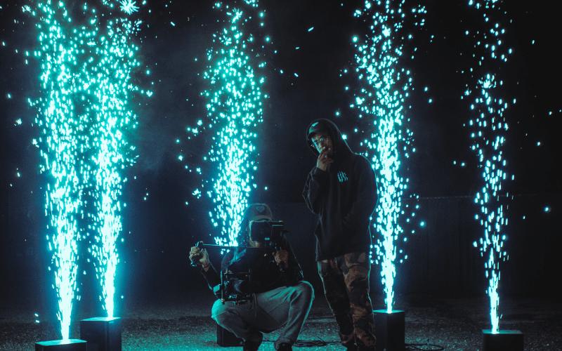 film camera and lights