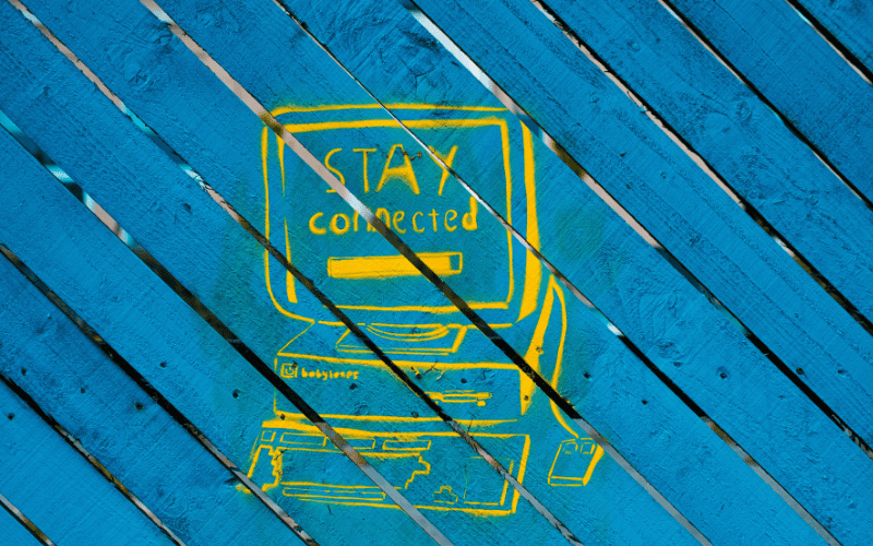 print saying stay connected