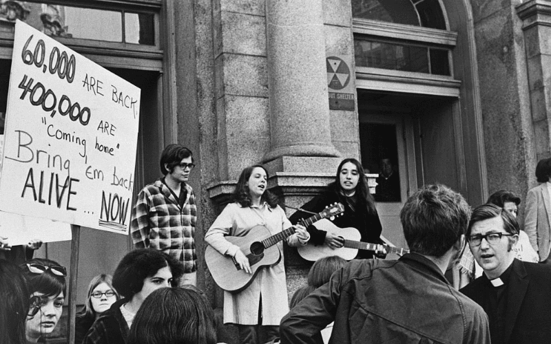 protest with music
